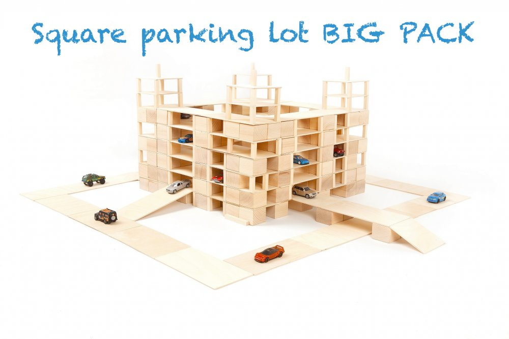 Just Blocks houten blokken big pack 336 blokken parkeergarage