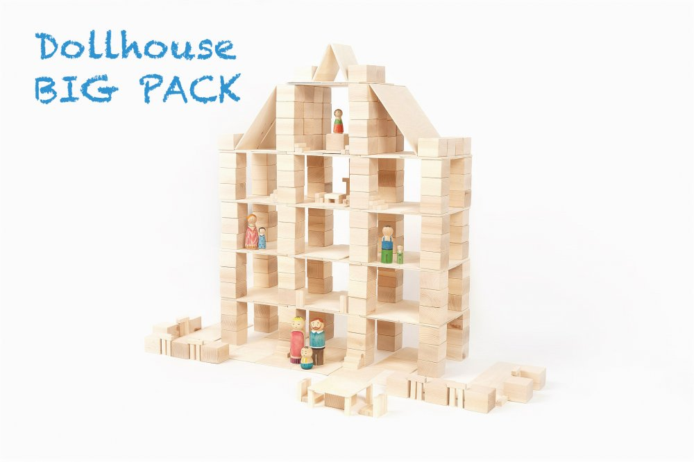 Just Blocks houten blokken big pack 336 blokken poppenhuis