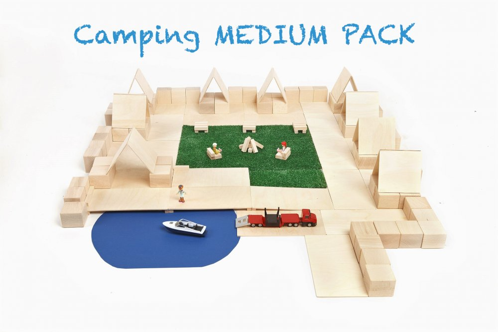 Just Blocks medium pack 166 houten blokken camping