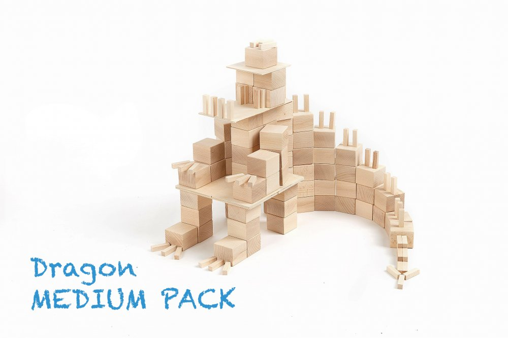 Just Blocks medium pack 166 houten blokken draak