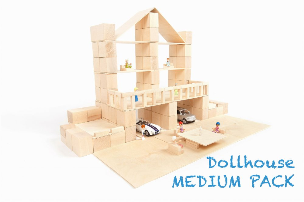 Just Blocks medium pack 166 houten blokken poppenhuis