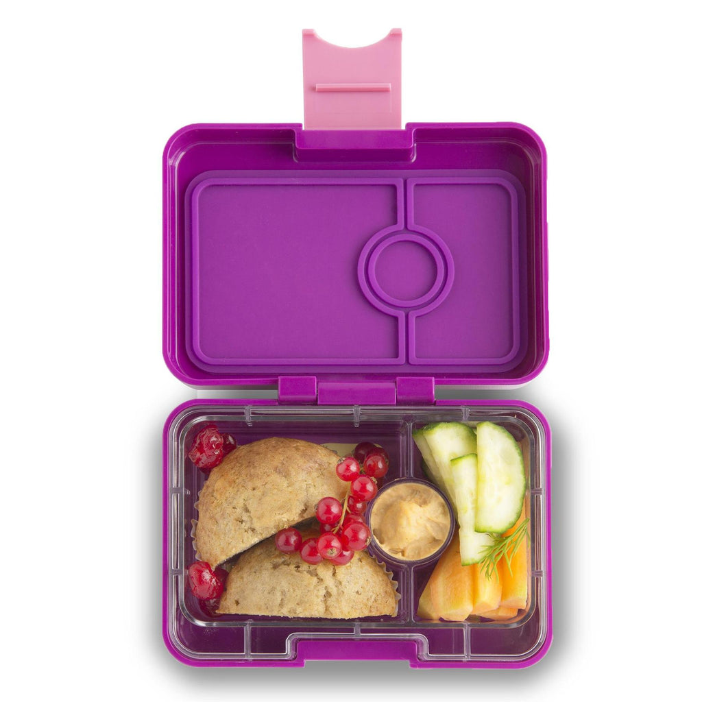 Yumbox Mini Snack 3 vakken Bijoux purple / Kittycat tray gevuld