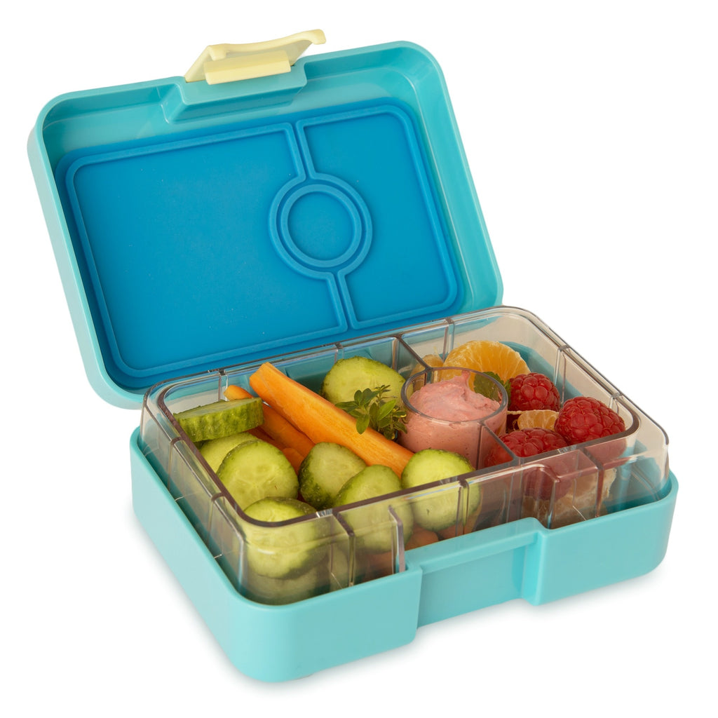 Yumbox Mini Snack 3 vakken Cannes blue / Kittycat tray gevuld