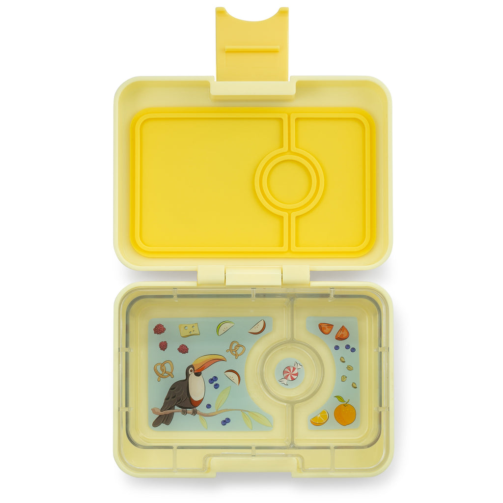 Yumbox Mini Snack 3 vakken Sunburst yellow / Toucan tray open