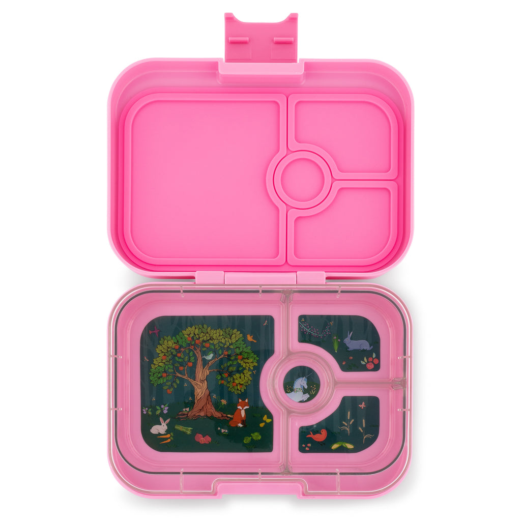 Yumbox Panino 4 vakken Stardust pink / Enchanted forest tray open