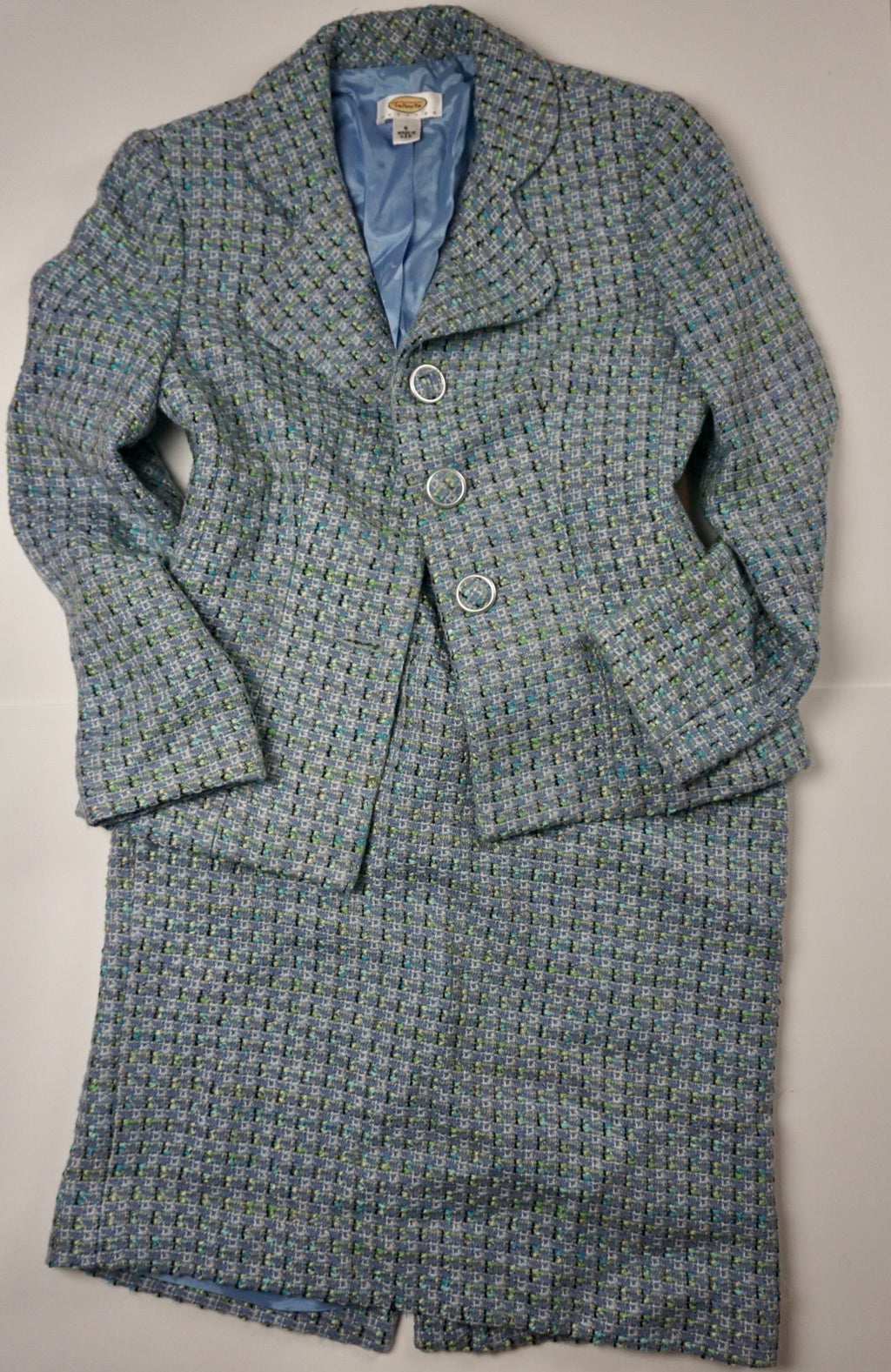BLUE GREEN TWEED SUIT