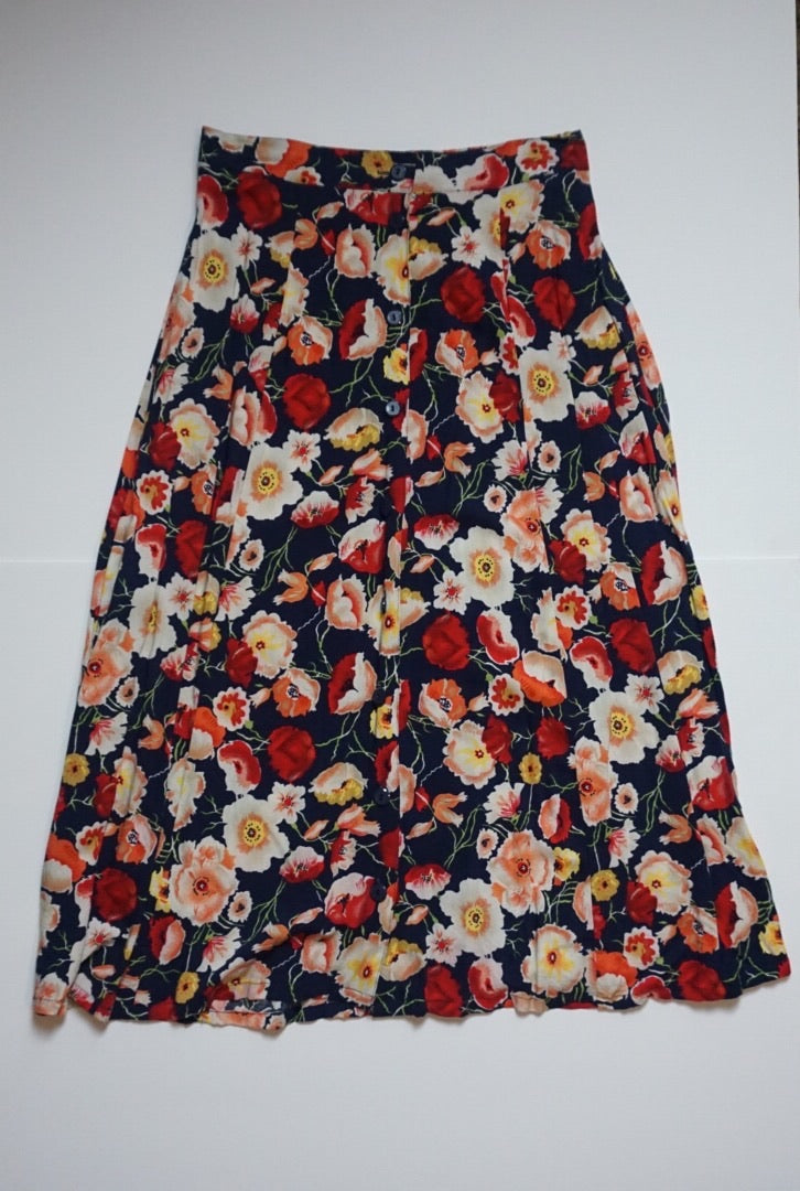 FLORAL BUTTON DOWN SKIRT