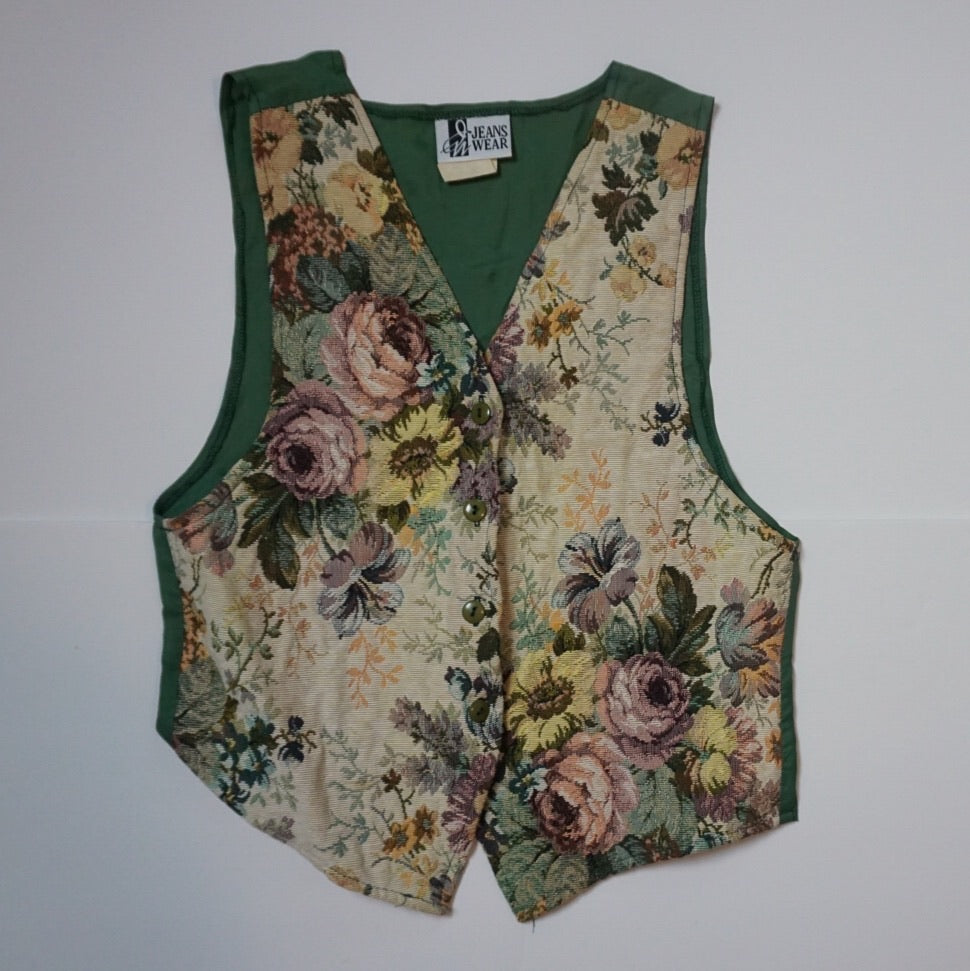 FLORAL/HUNTER GREEN JACQUARD VEST