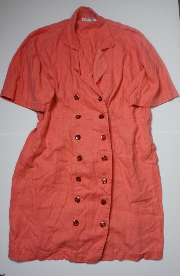CORAL LINEN BUTTON DRESS