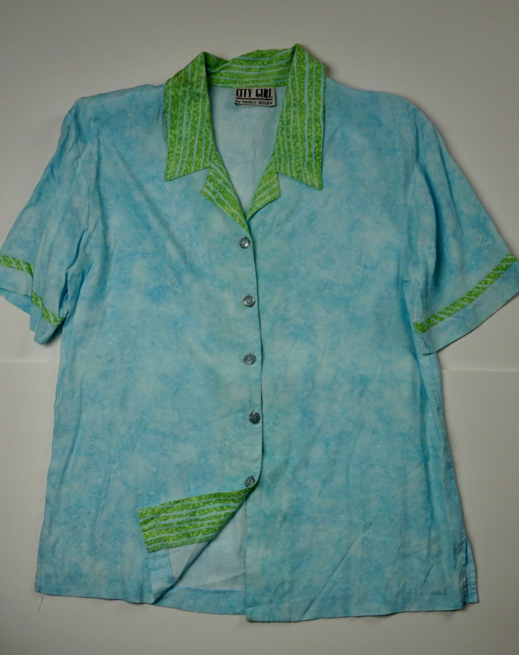 LIME BABY BLUE BUTTON DOWN