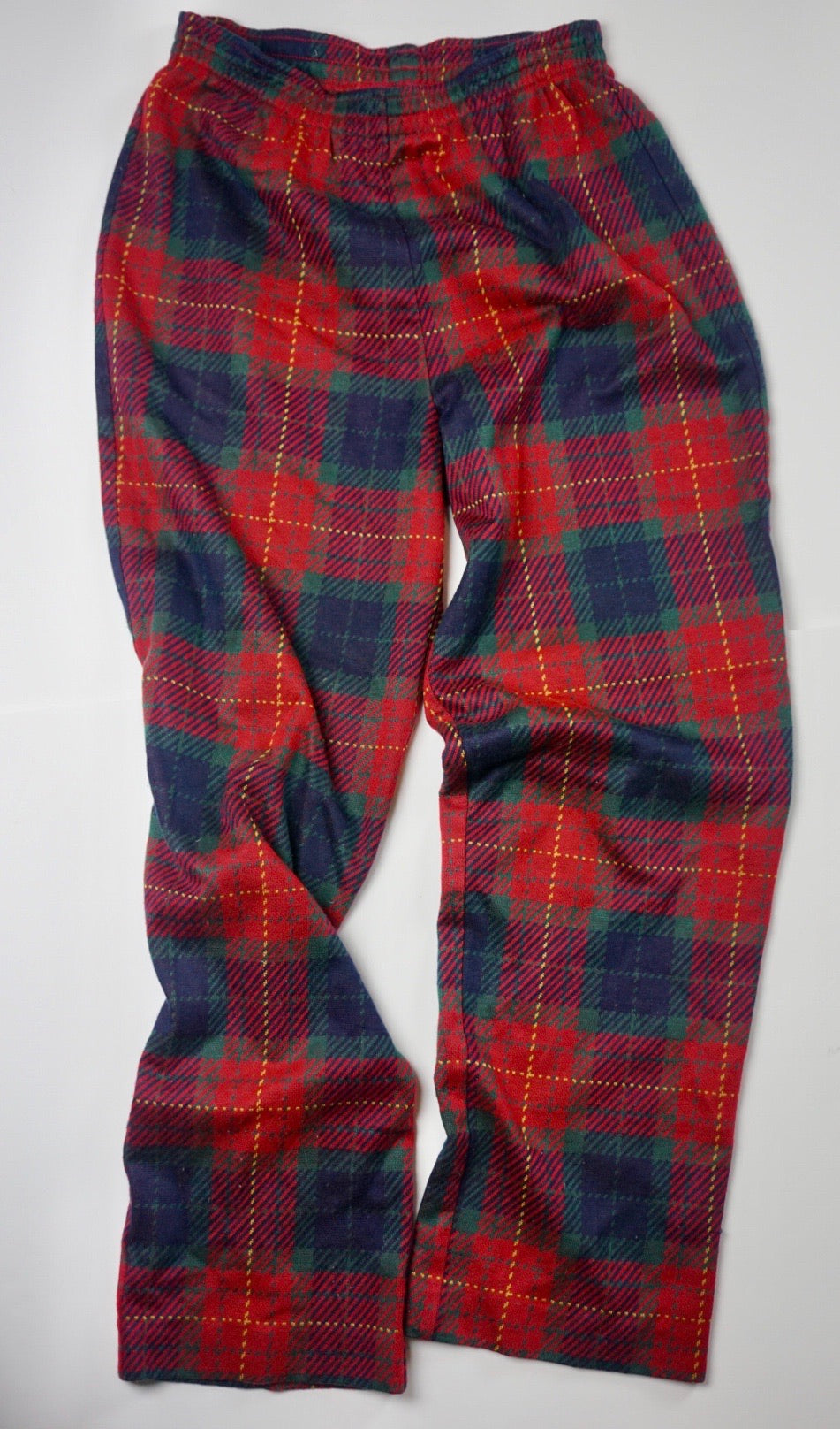 KNIT PLAID ELASTIC WAIST PANTS