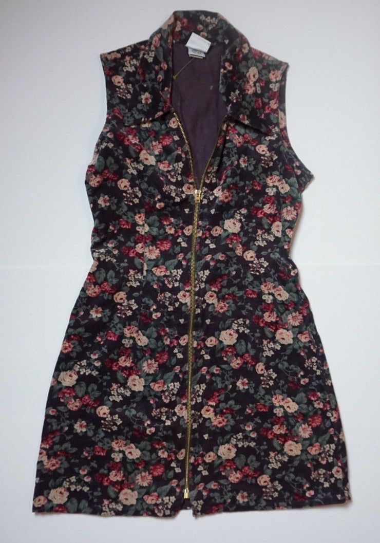 FLORAL CORDOROY ZIP DRESS