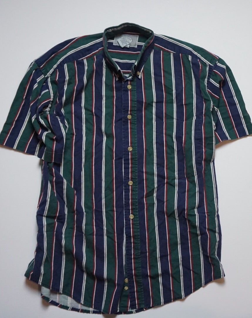 NAVY HUNTER GREEN STRIPED TOP