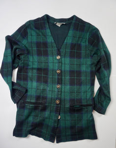 KNIT GREEN PLAID CARDIGAN