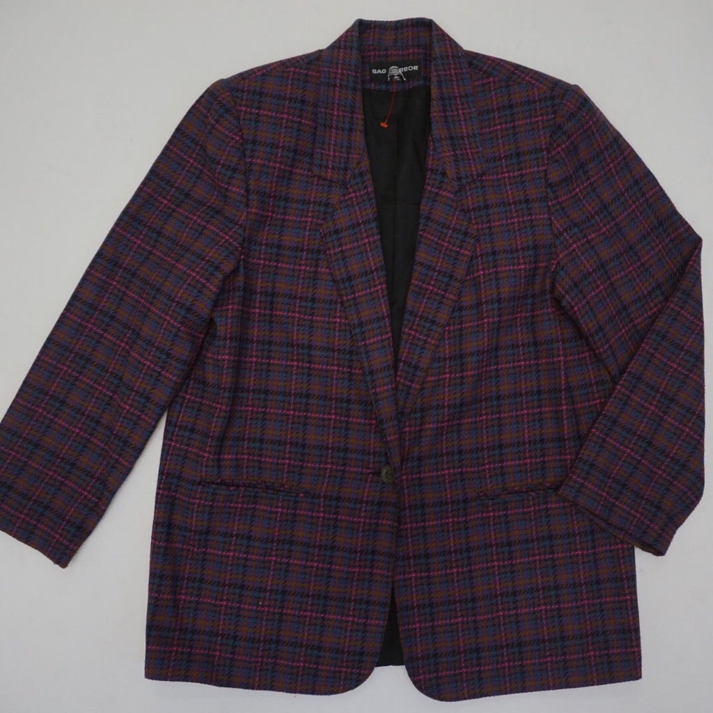 BROWN PLAID MULTI BLAZER