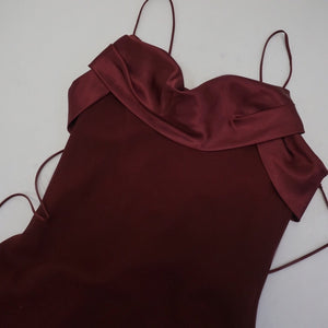 WINE MAXI SLIP DRESS