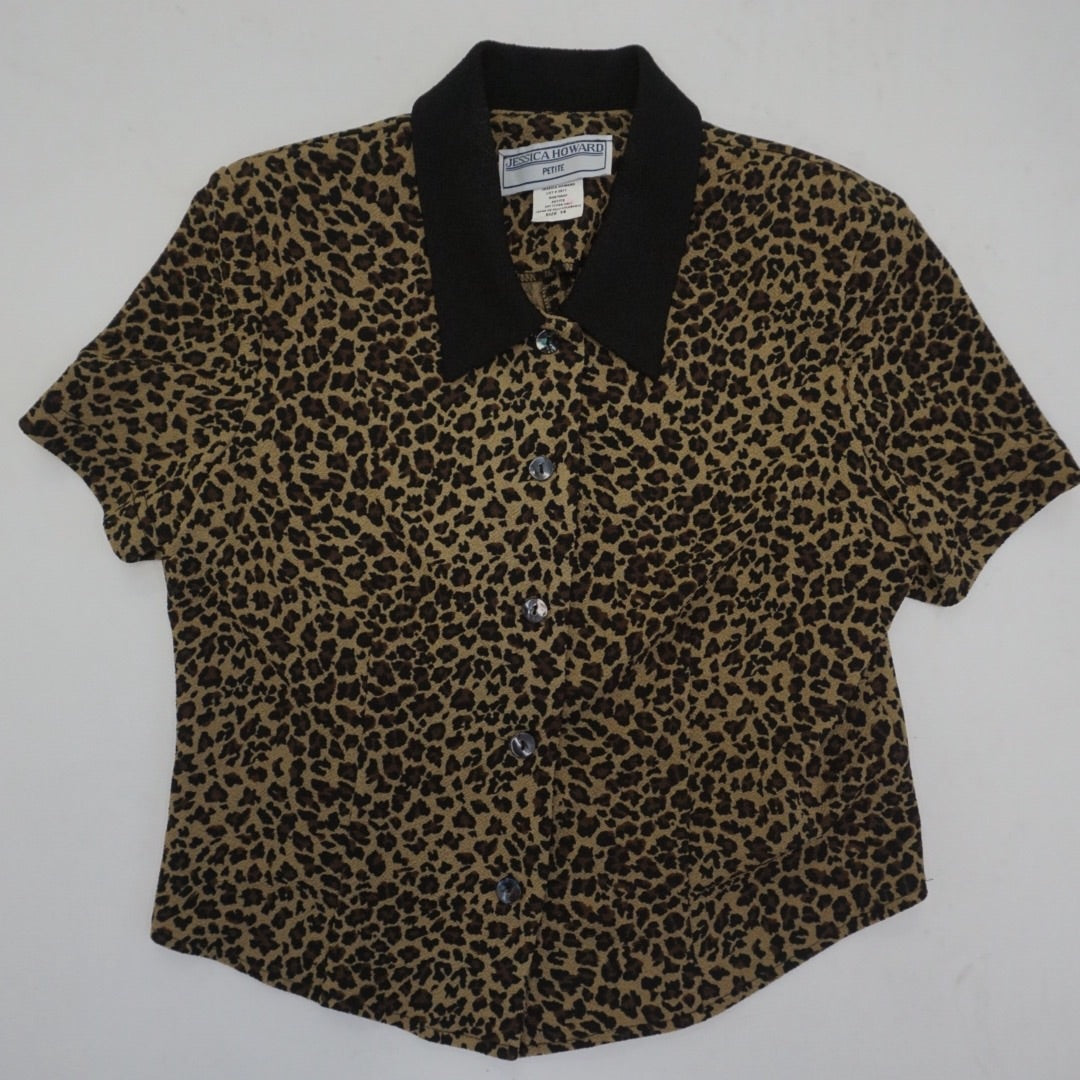 LEOPARD SHORT SLEEVE BLOUSE
