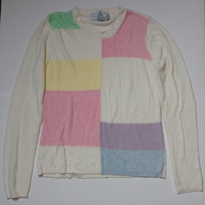 COLORBLOCK GRID KNIT TOP