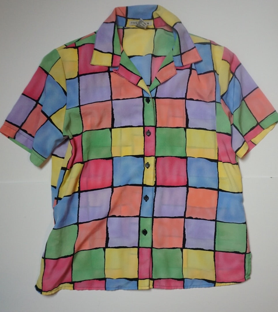 MULTI GRID SHORT SLEEVE BLOUSE