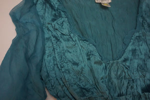 SILK TEAL BLOUSE WITH MESH SLEEVES