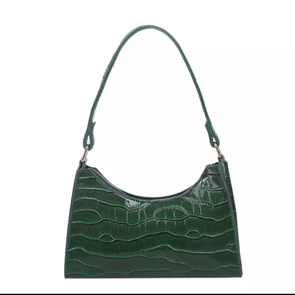 GREEN CROC SHOULDER BAG