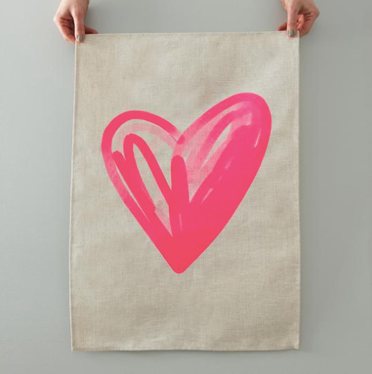 Heart Tea Towel - Natural Linen