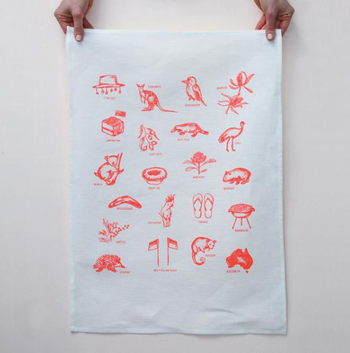 Australian Things Tea Towel - Orange Print on White Linen