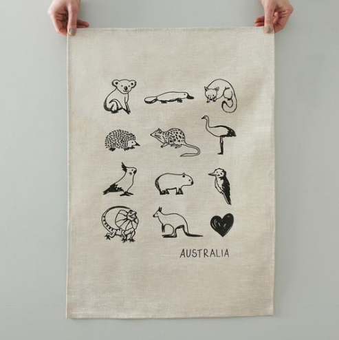 Australian Animals Tea Towel - Natural Linen