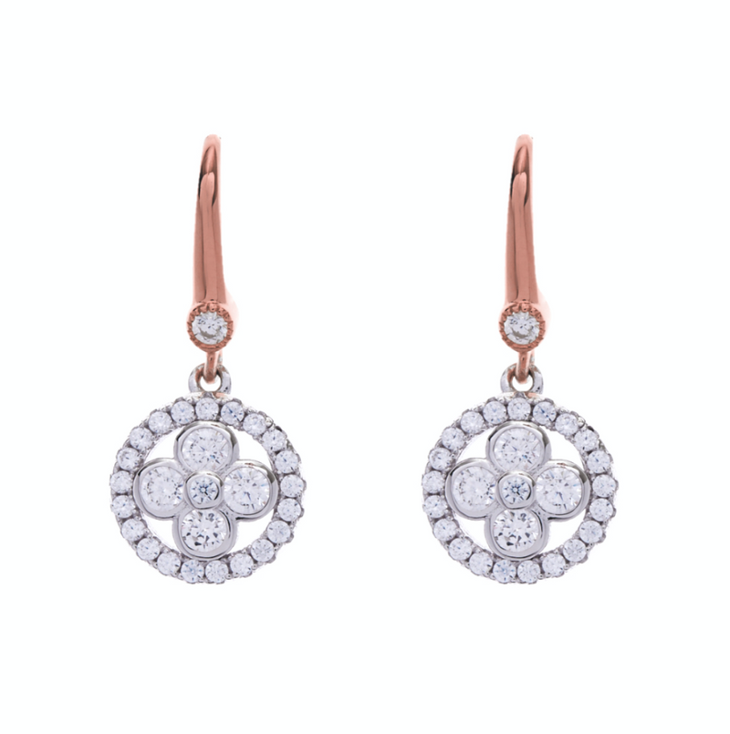 Two Toned Rose Gold Cubic Zirconia Earrings