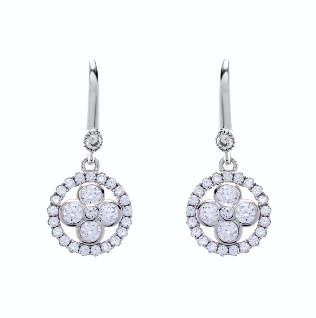 Rhodium Cubic Zirconia Flower Earrings