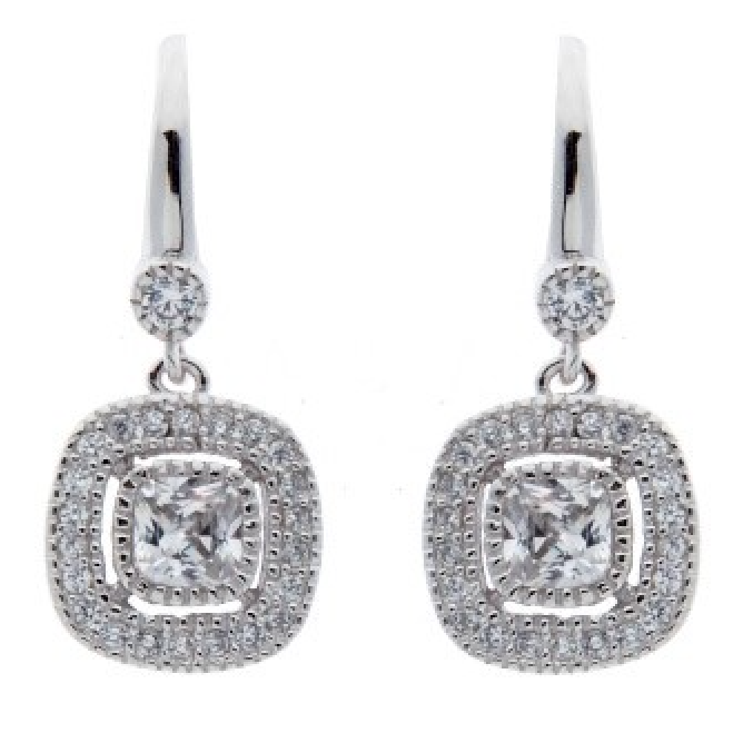 Rhodium Cubic Zirconia Square Earrings