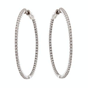 Classic Rhodium Cubic Zirconia Hoop Earrings
