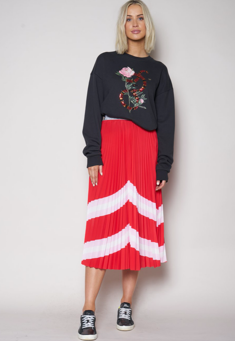 Sunray Skirt - Red / Pink /White