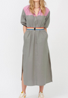 Le Stripe Washed Cotton Lounge Dress - Khaki