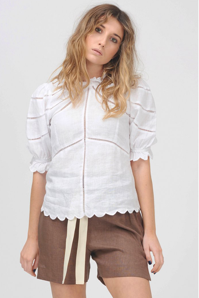 Le Stripe Camellia Top - White