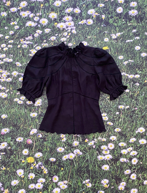 Le Stripe Camellia Top - Black