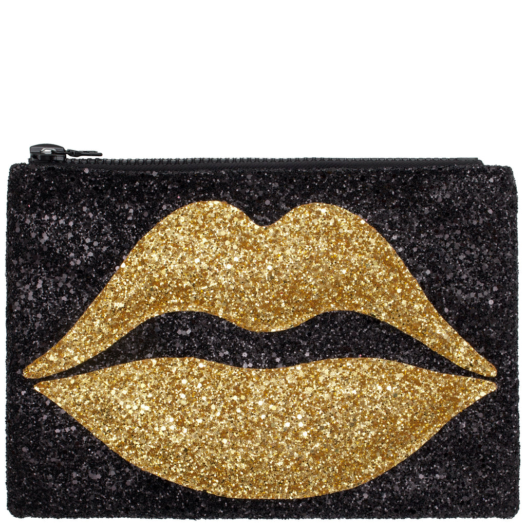 Pouting Lips Glitter Clutch Bag Gold