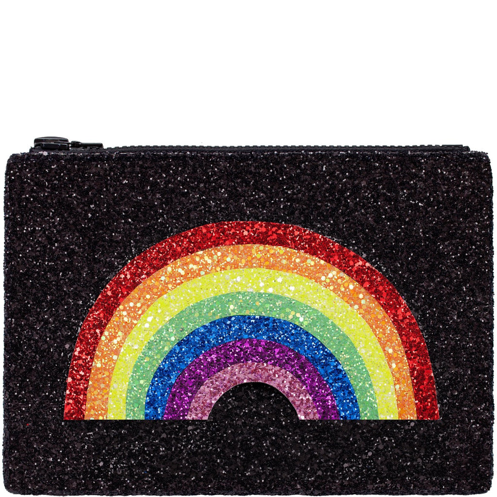 Rainbow Glitter Clutch Bag - Black