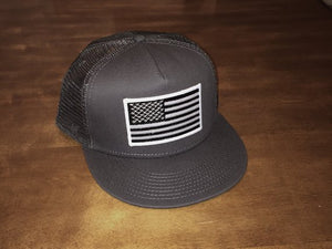 Charcoal Flat Billed Hat With Black and White American Flag – Rogue ... b4ce3f6ba75