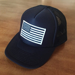 Black Foam Front Trucker Hat     Black and White American Flag