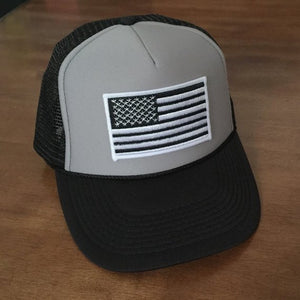 Black Grey Foam Front Trucker Hat....Black and White American Flag ... dcc969b0ad6