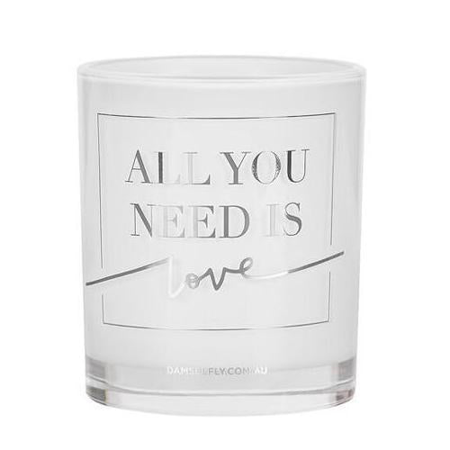 """All You Need Is Love"" Candle in Silver by Damesfly"