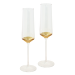 Gold Wedding Champagne Crystal Flutes  by Cristina Re