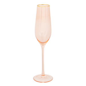 Blush Rose + Gold Wedding Champagne Crystal Flutes