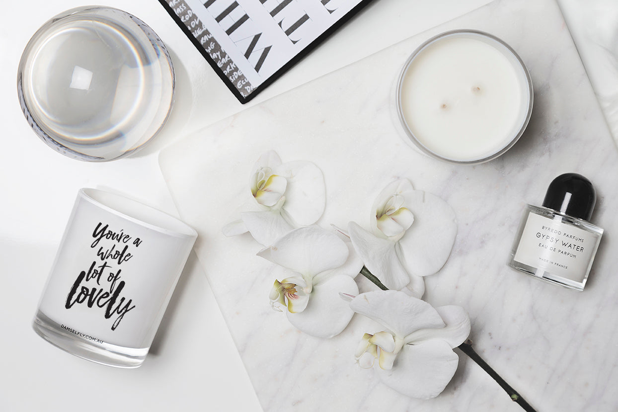 """You're A Whole Lot Of Lovely"" Candle in White by Damesfly"