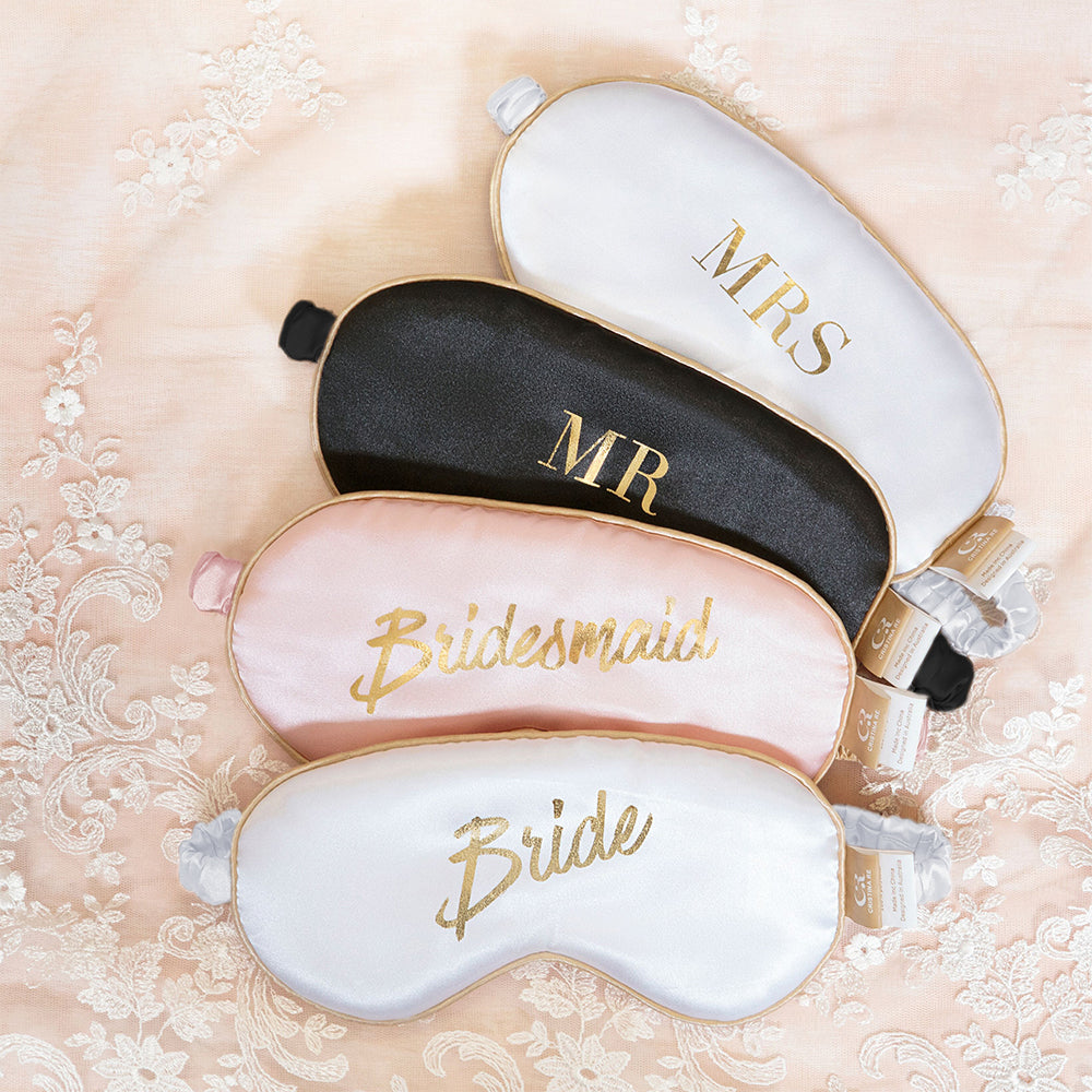 """Bride"" White + Gold Eye Mask"
