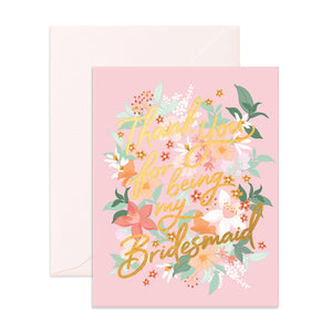 """Thank You For Being My Bridesmaid"" Bohemia Greeting Card"