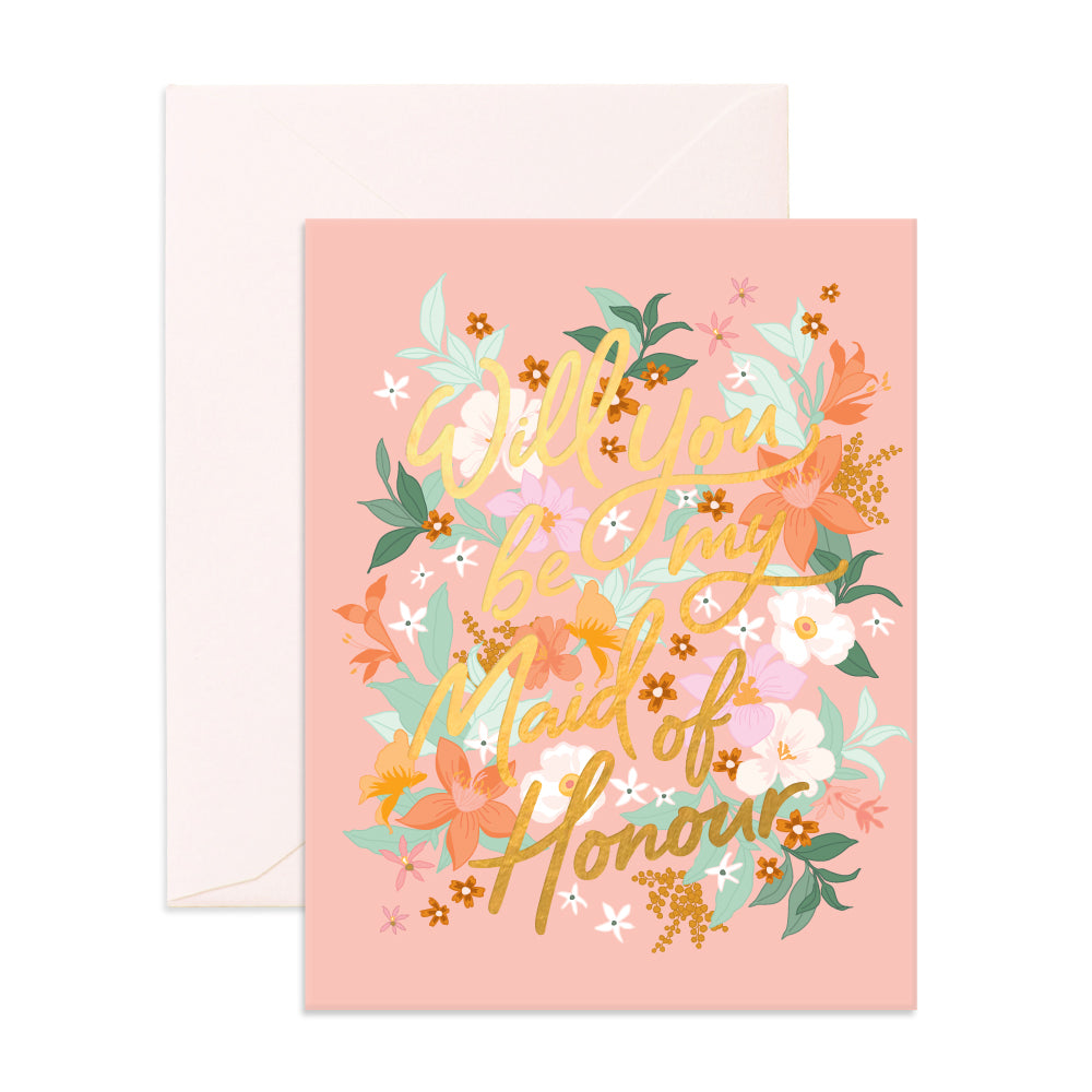 """Will You Be My Maid of Honour"" Bohemia Greeting Card"
