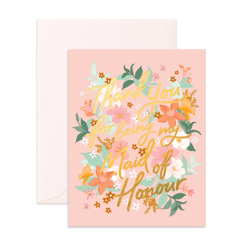 """Thank You For Being My Maid of Honour"" Bohemia Greeting Card"