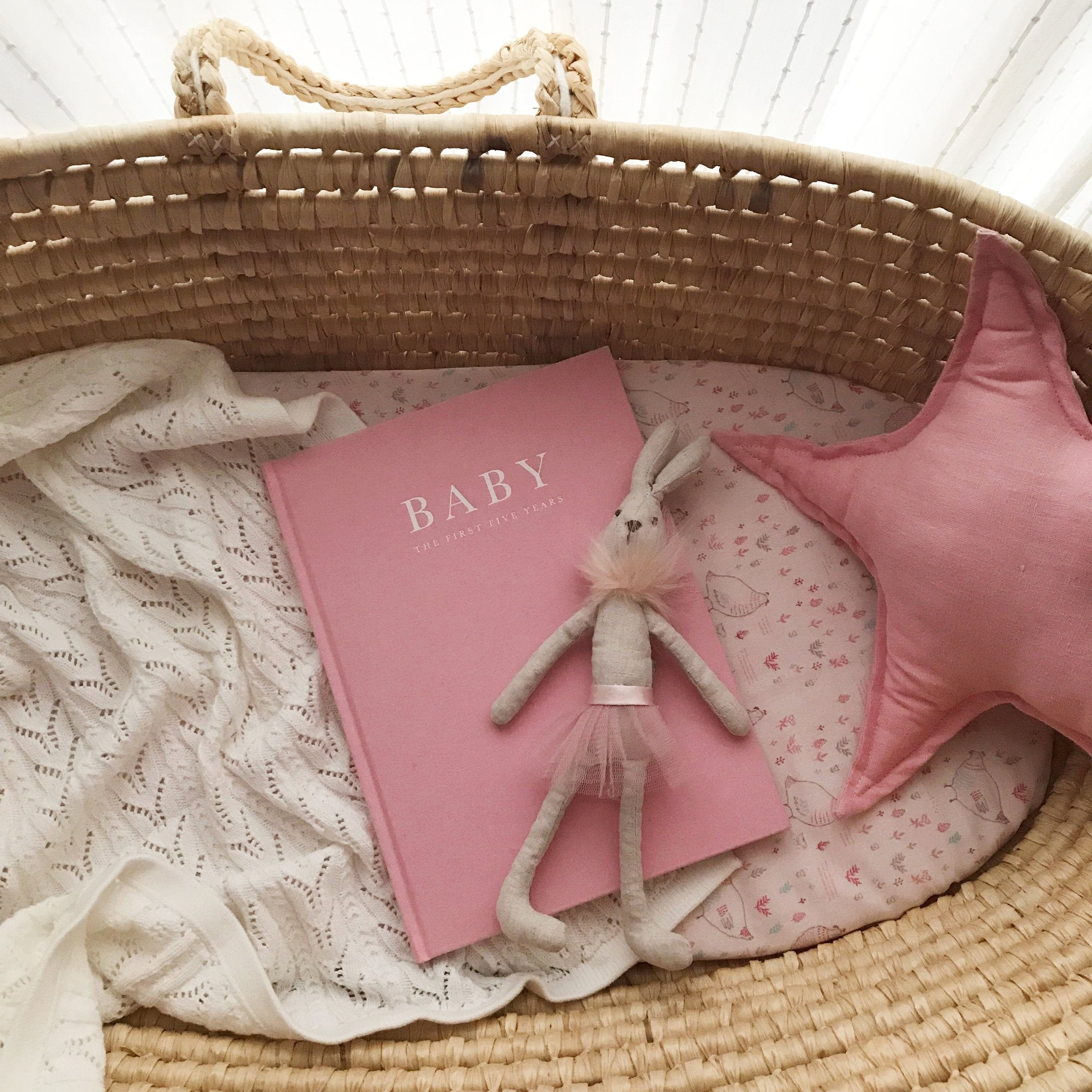 """Baby: The First Five Years"" Pink Linen Baby Milestone Journal by Write To Me"